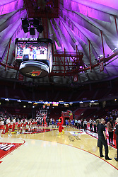 NORMAL, IL - February 10: Redbird Arena dome lit in pink during a college women's basketball Play4Kay game between the ISU Redbirds and the Indiana State Sycamores on February 10 2019 at Redbird Arena in Normal, IL. (Photo by Alan Look)