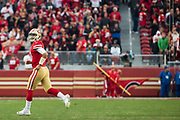 San Francisco 49ers quarterback Jimmy Garoppolo (10) runs off the field in the final minutes of gameplay between the San Francisco 49ers and the Jacksonville Jaguars at Levi's Stadium in Santa Clara, Calif., on December 24, 2017. (Stan Olszewski/Special to S.F. Examiner)