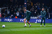 Leeds United midfielder Kalvin Phillips (23) and Leeds United forward Tyler Roberts (11) warming up during the EFL Sky Bet Championship match between Luton Town and Leeds United at Kenilworth Road, Luton, England on 23 November 2019.