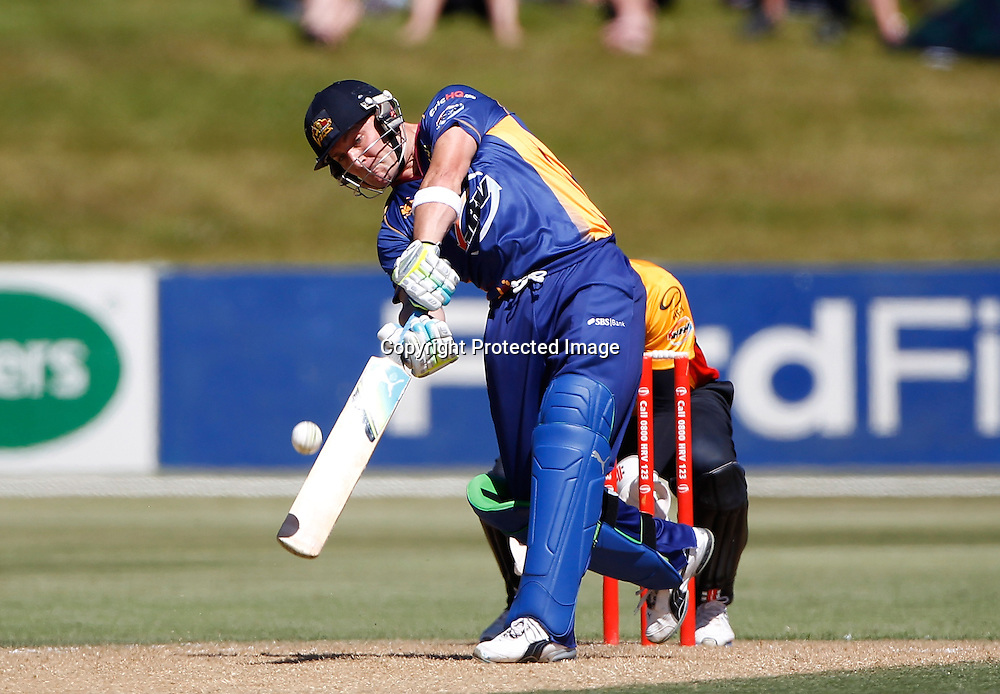 Volts Brendon McCullum hits out during the Twenty20 Cricket - HRV Cup, Otago Volts v Wellington Firebirds, Saturday 31 December 2011, Queenstown Events Centre, Queenstown, New Zealand. Photo: Michael Thomas/photosport.co.nz