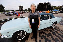 Gail Wise, 76, of Park Ridge, Ill., is the first buyer of a 1964 Ford Mustang. It's now worth $350,000. She and the car are at Ford world headquarters in Dearborn, MI, USA, celebrating the building of 10,000,000 Mustangs, on August 8, 2018. Photo by Kimberly P. Mitchell/Detroit Free Press/TNS/ABACAPRESS.COM