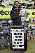Forest Green Rovers Keanu Marsh-Brown(7) with the local paper during the Forest Green Rovers Press Conference and Training session at the New Lawn, Forest Green, United Kingdom on 12 May 2017. Photo by Shane Healey.