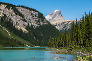 Mount Niles rises above Sherbrooke Lake, in Yoho National Park, British Columbia, Canada.