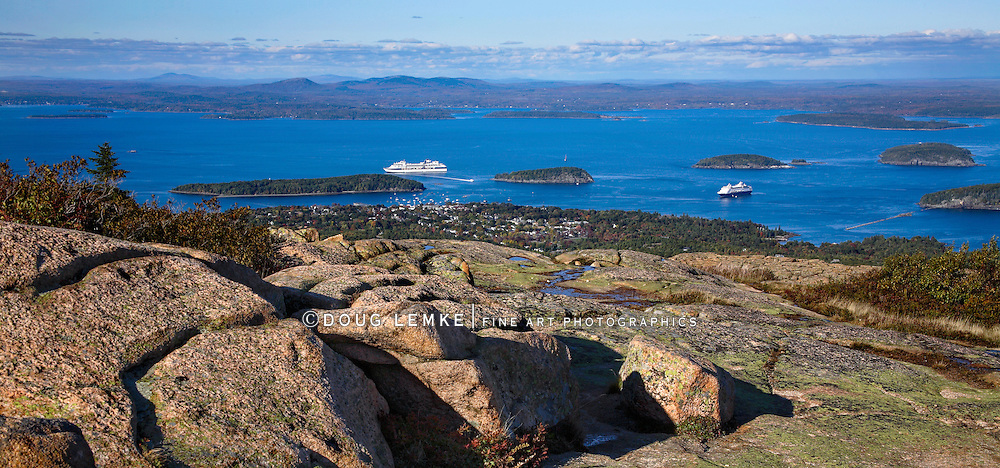 Bar Harbor As Seen From Cadillac Mountain At Acadia National Park, Maine, USA