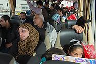 Roma, 29/02/2016: rifugiati siriani arrivati all'aereoporto di  Fiumicino nell&rsquo;ambito dell&rsquo;iniziativa dei corridoi umanitari di Sant&rsquo;Egidio, Tavola valdese e Chiese evangeliche, salgono sui pulman che li porteranno nelle loro destinazioni di accoglienza - the Syrian refugees, arrived at Fiumicino Airport under the initiative of Sant'Egidio humanitarian corridors, Waldensian Board and Evangelical Churches, are transported by bus to their accommodations.<br /> &copy;Andrea Sabbadini