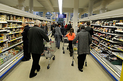 © under license to London News Pictures. 12/04/11. The UK Consumer Prices Index (CPI) annual rate of inflation has fallen to 4%, down from 4.4% in February. FILE PICTURE DATED 2011.01.07. Shoppers at Tesco Extra store in Orpington. Picture credit should read Grant Falvey/London News Pictures.