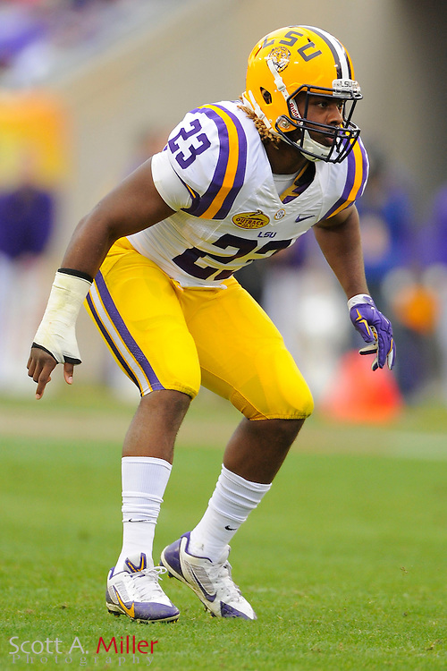 LSU Tigers linebacker Lamar Louis (23) during LSU's 21-14 win over the Iowa Hawkeyes in the 2014 Outback Bowl at Raymond James Stadium on January 1, 2014 in Tampa, Florida.                                  <br /> <br /> <br /> &copy;2014 Scott A. Miller