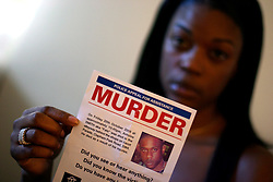 UK ENGLAND LONDON 21FEB07 - Claudia Smith, mother of 24-year old Antoine Smith who was gunned down and killed in October 2006 by youths in Clapham, south London. Ms Smith campaigned for information that led to the arrest of two suspects accused of Antoine's murder. She poses for photos with a leaflet she handed out to hundreds of people in the area of the killing...jre/Photo by Jiri Rezac..© Jiri Rezac 2007..Contact: +44 (0) 7050 110 417.Mobile:  +44 (0) 7801 337 683.Office:  +44 (0) 20 8968 9635..Email:   jiri@jirirezac.com.Web:    www.jirirezac.com..© All images Jiri Rezac 2007 - All rights reserved.