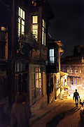 old downtown Sultanahmet area in Istanbul with the traditional wooden housing