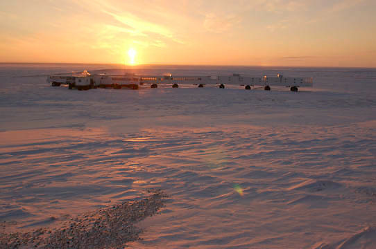 The sun sets over the Tundra Buggy camp at Cape Churchill near Churchill, Manitoba. Canada