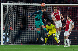 08-05-2019 NED: Semi Final Champions League AFC Ajax - Tottenham Hotspur, Amsterdam<br /> After a dramatic ending, Ajax has not been able to reach the final of the Champions League. In the final second Tottenham Hotspur scored 3-2 / Matthijs de Ligt #4 of Ajax, Daley Blind #17 of Ajax, Andre Onana #24 of Ajax, Fernando Llorente #18 of Tottenham Hotspur