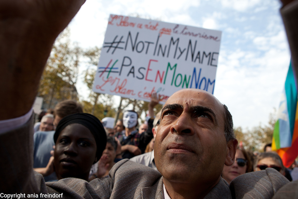 'Not in my name', french protest to denounce ISIS beheadings, Paris, France