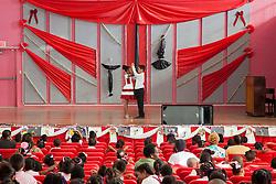 Damious Wilson and McKayla Smith demonstrate the Tango for parents, students, and staff at the Juanita Gardine Elementary School Dancing Classrooms VI Culminating Event.  16 December 2015.  Christiansted, St. Croix.   © Aisha-Zakiya Boyd.  © Aisha-Zakiya Boyd