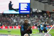 Usain Bolt of Jamaica during the Sainsbury's Anniversary Games at the Queen Elizabeth II Olympic Park, London, United Kingdom on 24 July 2015. Photo by Phil Duncan.