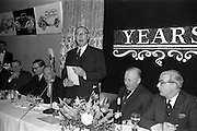 07/02/1963<br /> 02/07/1963<br /> 07 February 1963<br /> Brittain Dublin Ltd. Golden Jubilee reception and Dinner at the Hibernian Hotel, Dublin. Picture shows Mr. C. Kingerlee, Private Secretary to Lord Nuffield making a speech at the meeting.