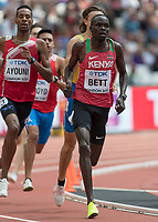 Athletics - 2017 IAAF London World Athletics Championships - Day Two (AM Session)<br /> <br /> Event: Mens 800m - Round 1<br /> <br /> Kipyegon Bett (KEN) leads the field around into the home straight<br /> <br /> <br /> COLORSPORT/DANIEL BEARHAM