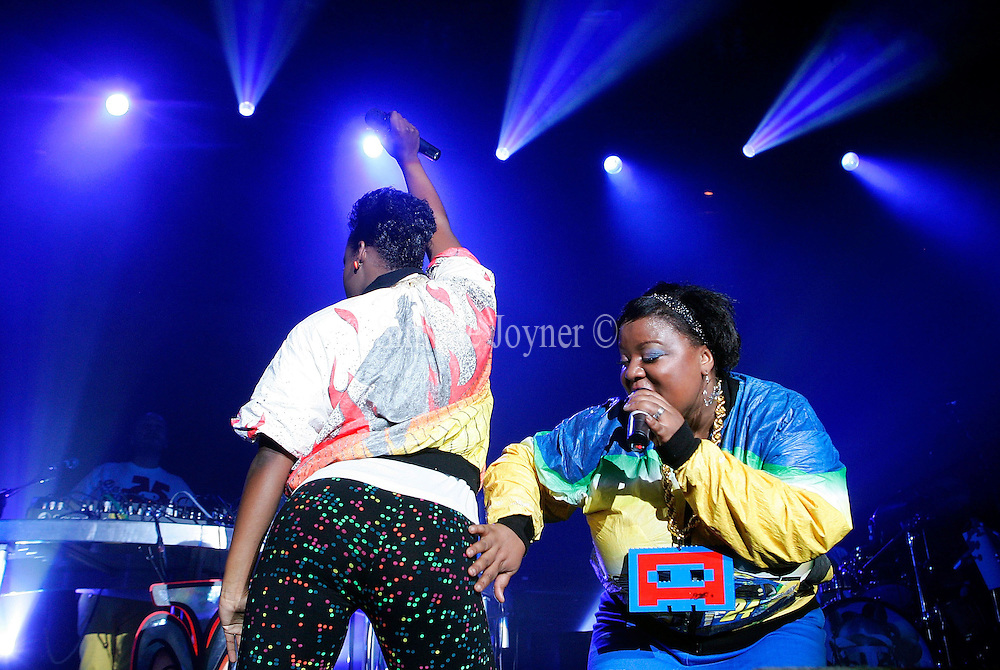 Joy Malcom and Corrina Josephs of Basement Jaxx perform live on stage at The Roundhouse in Camden Town on April 28, 2009 in London, England.  (Photo by Simone Joyner)