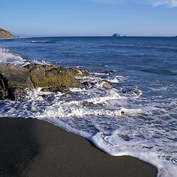Humbug Mtn., OR, SP..Oregon Coast. Sunset. Pacific Ocean.  Sea stacks.  June.