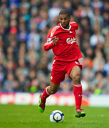 BIRMINGHAM, ENGLAND - Sunday, April 4, 2010: Liverpool's Ryan Babel in action against Birmingham City during the Premiership match at St Andrews. (Photo by David Rawcliffe/Propaganda)