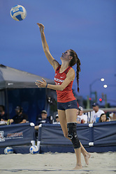 April 6, 2018 - Tucson, AZ, U.S. - TUCSON, AZ - APRIL 06: Arizona Wildcats defender Stephany Purdue (15) serves the ball during a college beach volleyball match between the Arizona State Sun Devils and the Arizona Wildcats on April 06, 2018, at Bear Down Beach in Tucson, AZ. Arizona defeated Arizona State 4-1. (Photo by Jacob Snow/Icon Sportswire (Credit Image: © Jacob Snow/Icon SMI via ZUMA Press)