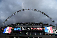 A helicopter patrols the skies over Wembley prior to the Breast Cancer Care International Friendly match at Wembley Stadium, London<br /> Picture by Daniel Hambury/Focus Images Ltd +44 7813 022858<br /> 17/11/2015