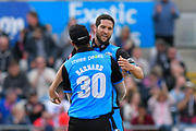 Wayne Parnell of Worcestershire celebrates his team beating Lancashire to reach the final during the Vitality T20 Finals Day Semi Final 2018 match between Worcestershire Rapids and Lancashire Lightning at Edgbaston, Birmingham, United Kingdom on 15 September 2018.
