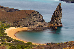 Aerial view of Pinnacle Rock with beach, Galapagos Islands National Park, Bartolome Island, Galapagos, Ecuador