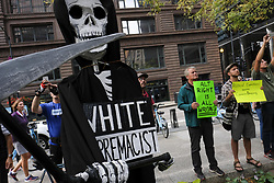 August 13, 2017 - Chicago, Illinois, USA - Organizers held a vigil in downtown Chicago for Heather Heyers and the others injured in Charlottesville. During a counter protest against neo-nazi and alt. right groups. (Credit Image: © Rick Majewski via ZUMA Wire)