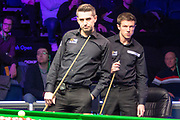 Jack Lisowski checks out his handywork as Mark Selby comes to the table for the first time during the World Snooker 19.com Scottish Open Final Mark Selby vs Jack Lisowski at the Emirates Arena, Glasgow, Scotland on 15 December 2019.