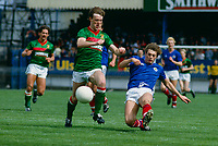 Johnny Jameson, Glentoran FC, Belfast, N Ireland, UK (green shirt), tussles with Colin Crawford, LInfield FC, also a Belfast club. 19850811008..Copyright Image from Victor Patterson, 54 Dorchester Park, Belfast, UK, BT9 6RJ..Tel: +44 28 9066 1296.Mob: +44 7802 353836.Voicemail +44 20 8816 7153.Skype: victorpattersonbelfast.Email: victorpatterson@mac.com.Email: victorpatterson@ireland.com (back-up)..IMPORTANT: If you wish to use this image or any other of my images please go to www.victorpatterson.com and click on the Terms & Conditions. Then contact me by email or phone with the reference number(s) of the image(s) concerned.