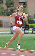 Alyssa Brewer of Southern California wins the women's 800m in 2:05.11 against UCLA during an NCAA college dual meet in Los Angeles, Sunday, April 28, 2019.