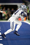 Dallas Cowboys running back Ezekiel Elliott (21) runs for a second quarter gain of 4 yards to the Cowboys 6 yard line during the NFL week 13 regular season football game against the New Orleans Saints on Thursday, Nov. 29, 2018 in Arlington, Tex. The Cowboys won the game 13-10. (©Paul Anthony Spinelli)