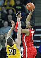 January 07, 2011: Ohio State Buckeyes forward Jared Sullinger (0) puts up a shot over Iowa Hawkeyes forward Andrew Brommer (20) during the the NCAA basketball game between the Ohio State Buckeyes and the Iowa Hawkeyes at Carver-Hawkeye Arena in Iowa City, Iowa on Saturday, January 7, 2012.