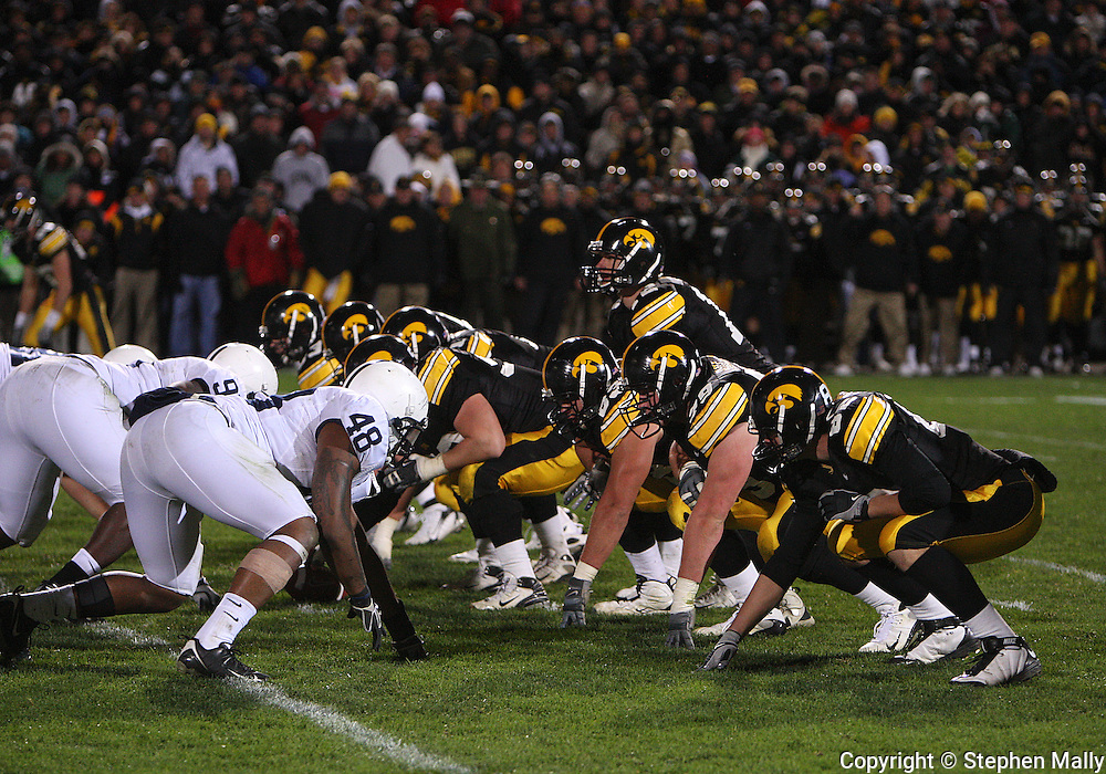 08 NOVEMBER 2008: Iowa quarterback Ricky Stanzi (12) under center late in the second half of an NCAA college football game against Penn State, at Kinnick Stadium in Iowa City, Iowa on Saturday Nov. 8, 2008. Iowa beat Penn State 24-23.