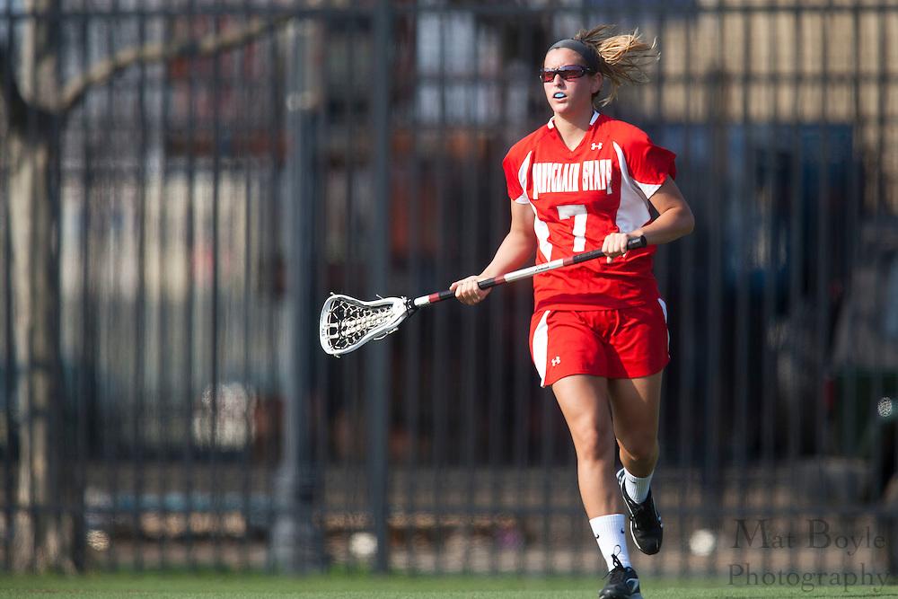 Montclair State Univeristy Lacrosse Senior Maggie Fallon (7); Rutgers-Camden Lacrosse against Montclair State University  on Wednesday March 21, 2012. (photo / Mat Boyle)