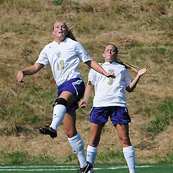 Photos by Tom Kelly IV<br /> WCU's Lexi Lentz (12) and Noelle Harner (3) go up for the header during the Indiana University of Pennsylvania (IUP) vs West Chester University (WCU) women's soccer game in East Bradford Township, Wednesday afternoon October 2, 2013.
