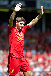 03.08.2013, Anfield Stadion, Liverpool, ENG, Testspiel, Liverpool FC vs Olympiakos CFP, im Bild Liverpool's captain Steven Gerrard after a preseason friendly match against Olympiakos CFP at Anfield during the friendly Match between Liverpool FC and Olympiakos CFP at the Anfield Stadion, Liverpool, England on 2013/08/03. EXPA Pictures © 2013, PhotoCredit: EXPA/ Propagandaphoto/ David Rawcliffe<br /> <br /> ***** ATTENTION - OUT OF ENG, GBR, UK *****