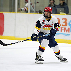 WELLINGTON, ON - FEBRUARY 9: Elijah Gonsalves #27 of the Wellington Dukes in the first period on February 9, 2019 at Wellington and District Community Centre in Wellington, Ontario, Canada.<br /> (Photo by Ed McPherson / OJHL Images)