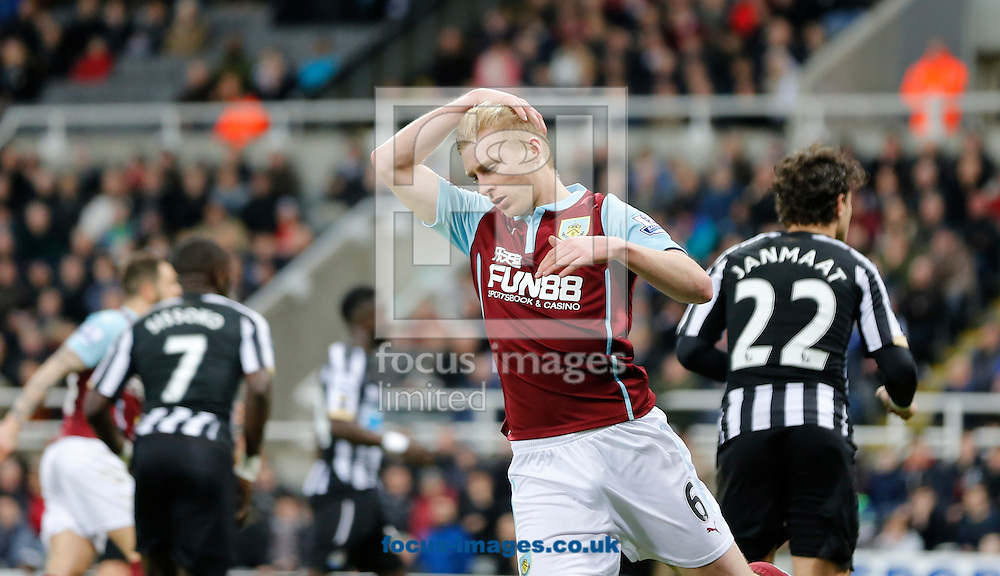 Ben Mee of Burnley is gutted to have missed during the Barclays Premier League match at St. James's Park, Newcastle<br /> Picture by Simon Moore/Focus Images Ltd 07807 671782<br /> 01/01/2015