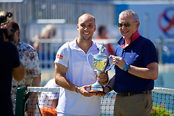 LIVERPOOL, ENGLAND - Sunday, June 18, 2017: Steve Darcis (BEL) is presented with the trophy after winning the Men's Final on Day Four of the Liverpool Hope University International Tennis Tournament 2017 at the Liverpool Cricket Club. (Pic by David Rawcliffe/Propaganda)