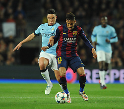 Manchester City's Samir Nasri jostles for the ball with Barcelona's Neymar - Photo mandatory by-line: Dougie Allward/JMP - Mobile: 07966 386802 - 18/03/2015 - SPORT - Football - Barcelona - Nou Camp - Barcelona v Manchester City - UEFA Champions League - Round 16 - Second Leg