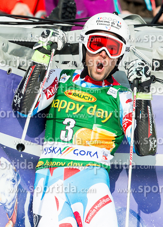 FANARA Thomas of France reacts during Men Giant Slalom race of FIS Alpine Ski World Cup 54th Vitranc Cup 2015, on March 14, 2015 in Kranjska Gora, Slovenia. Photo by Vid Ponikvar / Sportida