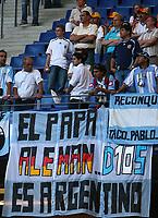 Hamburg 10/6/2006 World Cup 2006<br /> <br /> Argentina Cote d'Ivoire - Argentina Costa d'Avorio 2-1<br /> <br /> Photo Andrea Staccioli Graffitipress<br /> <br /> Uno striscione dei tifosi argentini su Maradona e il Papa