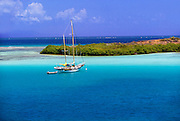 356205-1004H ~ Copyright: George H.H. Huey ~ Bahia Almodovar [Almodovar Bay] with sailboat at anchor, Island of Culebra, Puerto Rico, Spanish Virgin Islands, Caribbean.