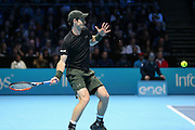 Andy Murray (Great Britain) returns a shot during the final of the Barclays ATP World Tour Finals at the O2 Arena, London, United Kingdom on 20 November 2016. Photo by Phil Duncan.
