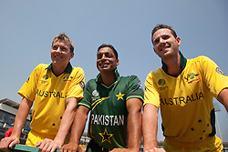 ©London News Pictures. 19/03/2011.Australian Fast bowlers Brett Lee & Shaun Tait pose for a photo with soon to be retired Pakistani paceman Shoaib Akhtarat R.Premadasa Stadium Colombo Sri Lanka
