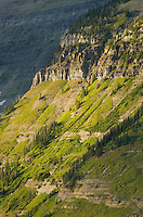 The Garden Wall bathed in evening light, Glacier National Park Montana USA