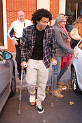 11.NOVEMBER.2012. MADRID<br /> <br /> BRAZIL AND REAL MADRID FOOTBALLER MARCELO, WHO RECENTLY BROKE HIS RIGHT LEG WAS SPOTTED LEAVING CASA JUAN RESTAURANT AFTER HAVING LUNCH WITH WITH HIS GIRLFRIEND AND OTHER FRIENDS IN MADRID.<br /> <br /> BYLINE: EDBIMAGEARCHIVE.CO.UK<br /> <br /> *THIS IMAGE IS STRICTLY FOR UK NEWSPAPERS AND MAGAZINES ONLY*<br /> *FOR WORLD WIDE SALES AND WEB USE PLEASE CONTACT EDBIMAGEARCHIVE - 0208 954 5968*