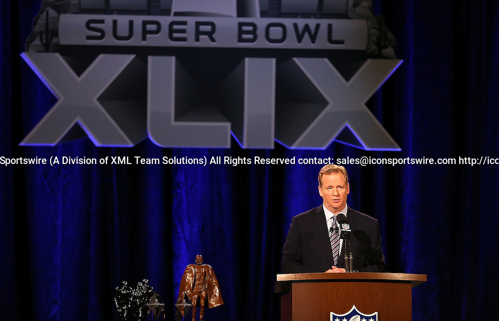 30 January 2015: NFL Commissioner Roger Goodell speaks to the media during the Super Bowl XLIX press conference at the Phoenix Convention Center in Phoenix, Az.  30 January 2015: NFL Commissioner Roger Goodell speaks to the media during the Super Bowl XLIX press conference at the Phoenix Convention Center in Phoenix, Az.
