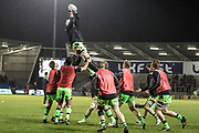 Northampton warm up before the Aviva Premiership match between Sale Sharks and Northampton Saints at the AJ Bell Stadium, Eccles, United Kingdom on 25 November 2017. Photo by George Franks.